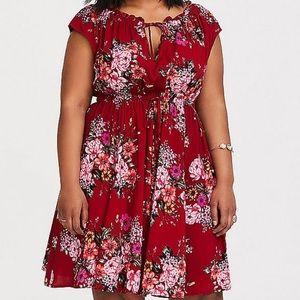 Torrid Size 3 Red Floral Dress